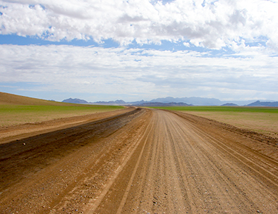 long gravel road in damaraland
