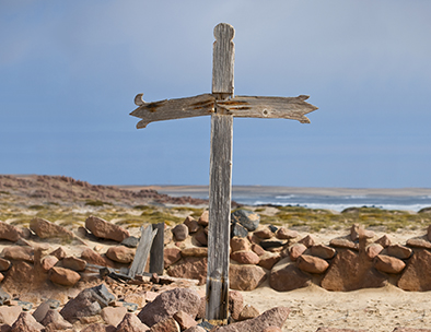 A wooden cross on the Skeleton Coast