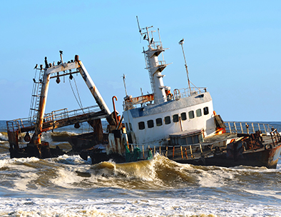 The Skeleton Coast is littered with shipwrecks