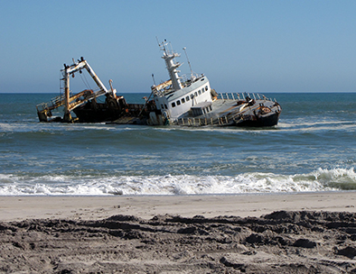 A shipwreck off the coast of Swakopmund