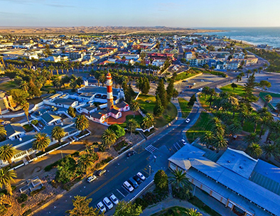 An aerial view of Swakopmund